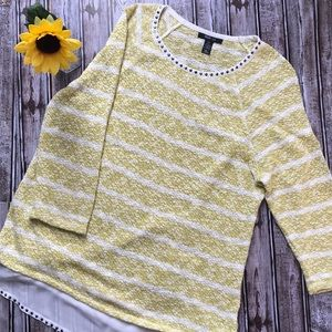 Style & Co chartreuse yellow and cream sweater